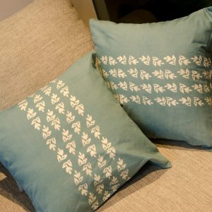 Batik Stamp Cushion Spa Design Blue